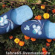 """Обувь ручной работы. Ярмарка Мастеров - ручная работа Тапки """"Гжель"""". Handmade."""