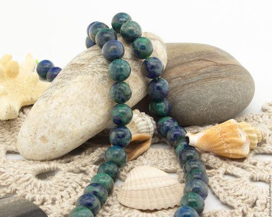 Для украшений ручной работы. Ярмарка Мастеров - ручная работа. Купить Азурит натуральный бусины шар 8-8.5мм - арт.12-15. Handmade.