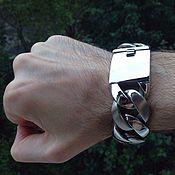 Украшения handmade. Livemaster - original item Man powerful of jewelry steel bracelet matt and gloss in one. Handmade.