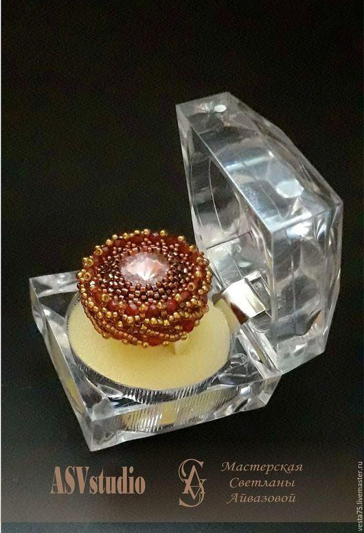 """Кольца ручной работы. Ярмарка Мастеров - ручная работа. Купить Коктейльное кольцо  """"Вкус граната"""". Handmade. Бордовый, кольцо из бисера"""