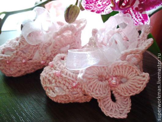 """Для новорожденных, ручной работы. Ярмарка Мастеров - ручная работа. Купить Пинетки """"Фея"""". Handmade. Розовый, пинетки для девочки"""