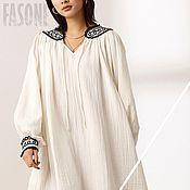 Одежда handmade. Livemaster - original item dresses: White dress with boho embroidery. Handmade.