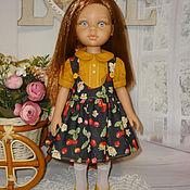 Одежда для кукол ручной работы. Ярмарка Мастеров - ручная работа Джинсовый сарафан и блузка Paola. Handmade.