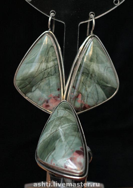 Кольца ручной работы. Ярмарка Мастеров - ручная работа. Купить Комплект с зеленой яшмой  37. Handmade. Морская волна
