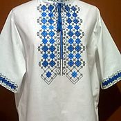 Одежда handmade. Livemaster - original item Men`s embroidered shirt MP3-035. Handmade.