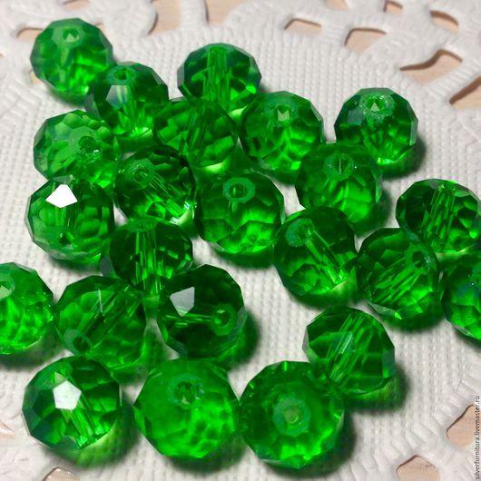 Для украшений ручной работы. Ярмарка Мастеров - ручная работа. Купить Бусина, граненая, зеленый, рондель, 6х8 мм. Handmade.