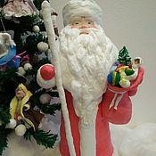 Куклы и игрушки ручной работы. Ярмарка Мастеров - ручная работа Дед Мороз под ёлку. Ватная игрушка.. Handmade.