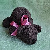 Куклы и игрушки ручной работы. Ярмарка Мастеров - ручная работа мишка с бантиком. Handmade.