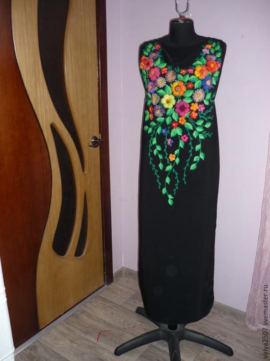 """Большие размеры ручной работы. Ярмарка Мастеров - ручная работа. Купить Платье с ручной объёмной вышивкой""""Алла"""". Handmade. Черный"""