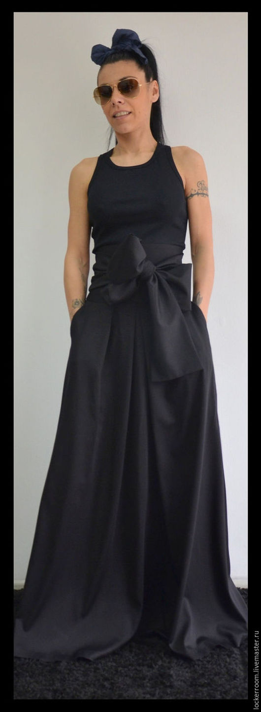 Длинная юбка, юбка в пол, нарядная длинная юбка, юбка с бантом, черная шикарная юбка, наряд на новый год, волшебная длинная юбка