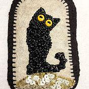 Брошь-булавка ручной работы. Ярмарка Мастеров - ручная работа Броши: черный кот. Handmade.