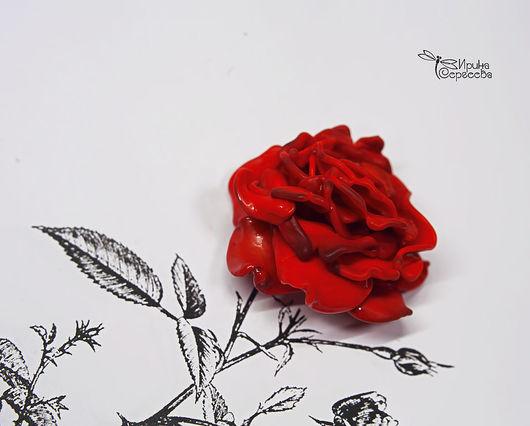 """Кулоны, подвески ручной работы. Ярмарка Мастеров - ручная работа. Купить Бусина в виде розы """"Кармен"""". Handmade. Бордовый, роза"""