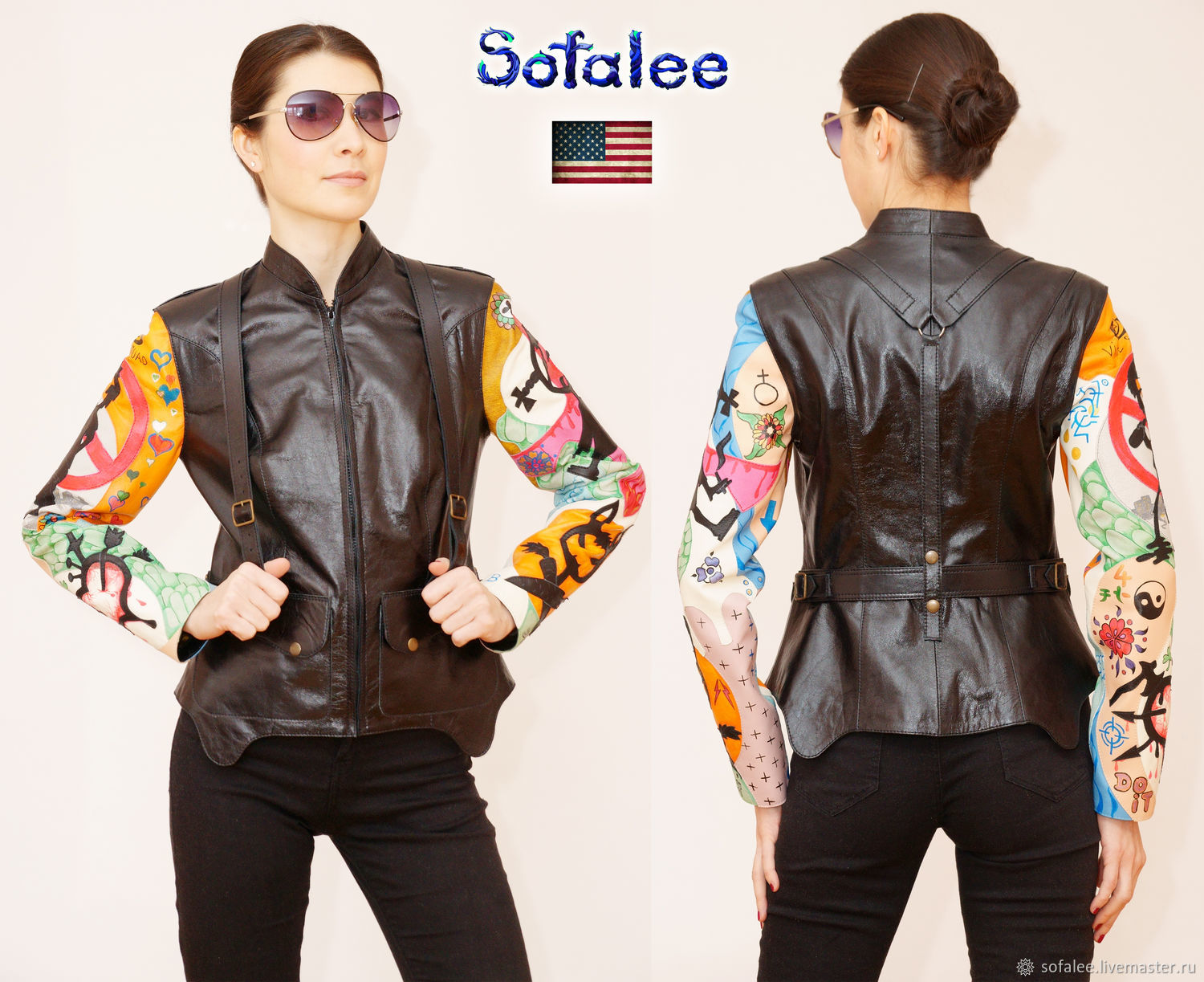 Women's leather jacket with shoulder straps, embroidery on the sleeves, Outerwear Jackets, Moscow,  Фото №1