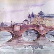 Картины и панно handmade. Livemaster - original item Watercolor painting Paris Seine (red-purple blue-gray bridge). Handmade.