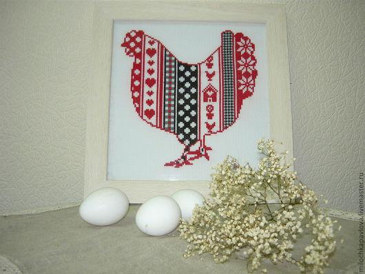 """Абстракция ручной работы. Ярмарка Мастеров - ручная работа. Купить Панно """"Курочка ряба"""". Handmade. Курица, Вышивка крестом, дом"""