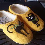 """Обувь ручной работы. Ярмарка Мастеров - ручная работа валяные тапочки """"Кошечка"""". Handmade."""