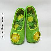 """Обувь ручной работы. Ярмарка Мастеров - ручная работа """"Лимонный мохито"""", войлочные домашние тапочки. Handmade."""