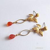 """Украшения ручной работы. Ярмарка Мастеров - ручная работа Серьги""""Рыжая орхидея"""" Сердолик. Handmade."""