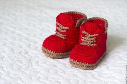 Для новорожденных, ручной работы. Ярмарка Мастеров - ручная работа. Купить Пинетки ботинки Красные Тимберленды. Handmade. Ярко-красный