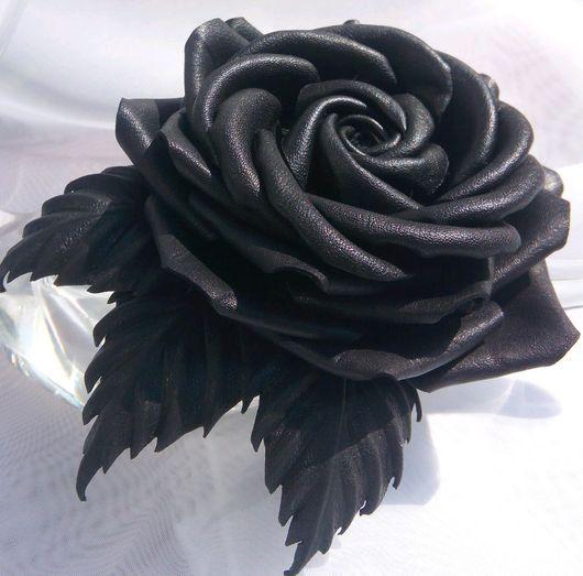 Броши ручной работы. Ярмарка Мастеров - ручная работа. Купить Цветы из кожи.Черная роза. Handmade. Цветы из кожи