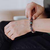 Украшения handmade. Livemaster - original item Patchouli Amethyst and Fluorite Bracelet