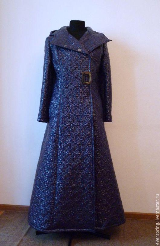 Демисезонное пальто, осеннее пальто, длинное пальто, пальто с капюшоном, стёганное пальто, синее пальто, пальто бохо, пальто гранж, непромокаемое пальто, купить пальто.