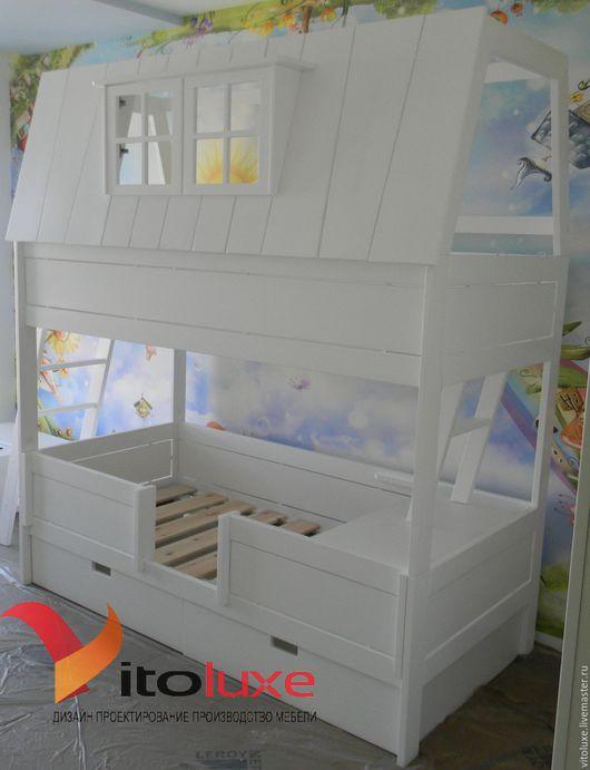 Детская ручной работы. Ярмарка Мастеров - ручная работа. Купить Двухъярусная кровать домик. Handmade. Белый, кровать детская