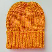 Аксессуары handmade. Livemaster - original item Knitted beanie hat with a lapel voluminous hat cap beret. Handmade.