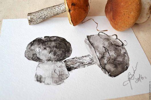 Триптих `Грибные заготовки`, картина, графика. Белый гриб и подосиновик.