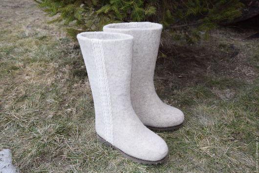 Обувь ручной работы. Ярмарка Мастеров - ручная работа. Купить ВАЛЕНКИ. Handmade. Серый, зимняя обувь, теплая обувь, подошва
