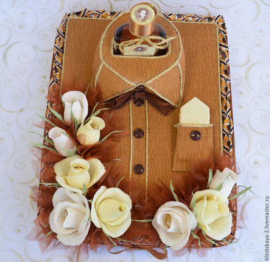 Букеты ручной работы. Ярмарка Мастеров - ручная работа. Купить Букет из конфет, композиция рубашка из конфет с коньяком.. Handmade.