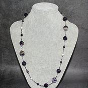 Украшения handmade. Livemaster - original item Beads / necklace natural amethyst, hematite and pearls. Handmade.