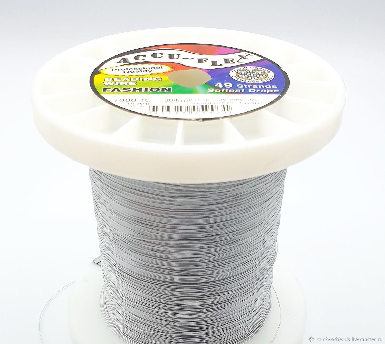 Тросик ювелирный Accu-flex 0,36 мм 49-ти жильный цвет светлое серебро, Шнуры, Москва,  Фото №1