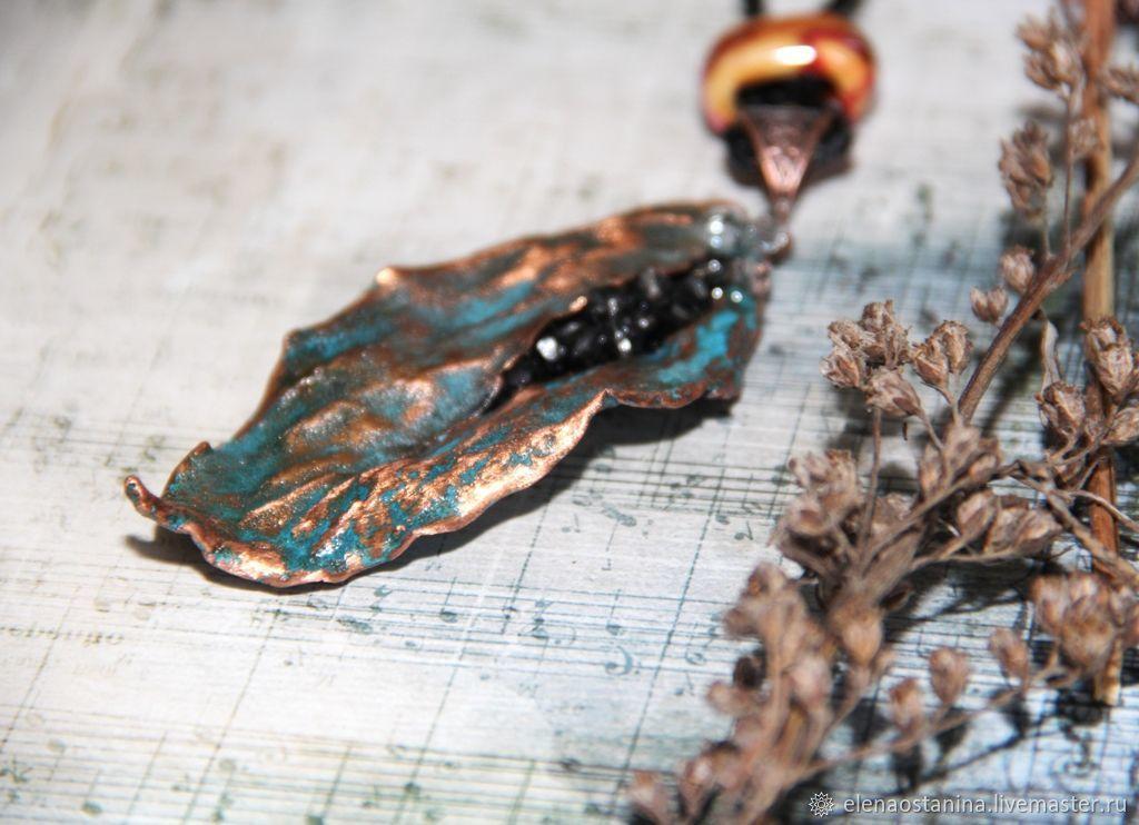 Apple leaf pendant copper plated, Pendant, Ekaterinburg,  Фото №1