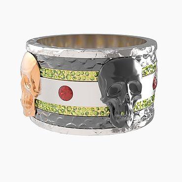 Decorations handmade. Livemaster - original item Gold Skull ring with sapphires and yellow diamonds. Handmade.