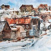 Картины и панно handmade. Livemaster - original item The watercolor paintings of the Ural village. Handmade.