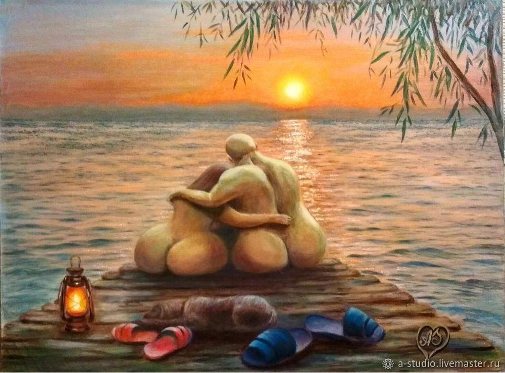 Картина маслом Закат с любимым, Картины, Оренбург,  Фото №1
