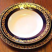 Винтаж handmade. Livemaster - original item Large dining room and deep plates, cobalt, Weimar, Herm. Handmade.