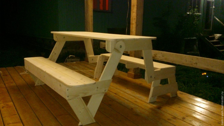 Своими руками скамейка превращается в столик чертеж фото