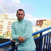 """Одежда ручной работы. Ярмарка Мастеров - ручная работа свитер """"Fishermen""""цвет мята. Handmade."""