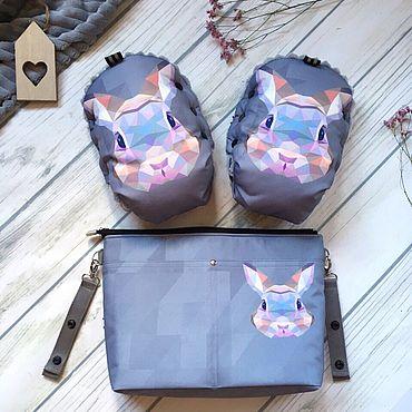 Товары для малышей ручной работы. Ярмарка Мастеров - ручная работа Комплект муфта и сумка на коляску Заяц-побегаец. Handmade.
