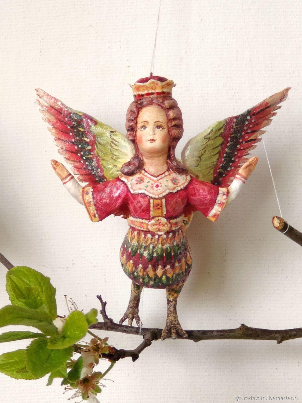 Ватная елочная игрушка Алконост - райская птица, Елочные игрушки, Шаховская,  Фото №1