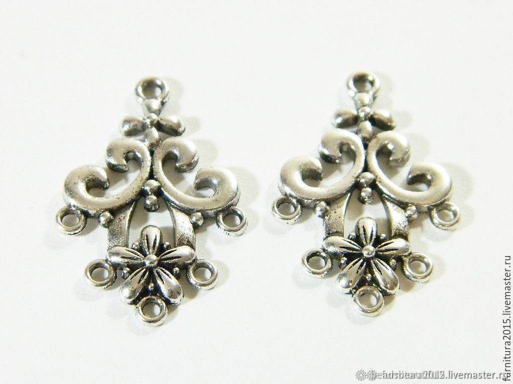Connectors 'Flower of Love' color silver, accessories for jewelry, Beads1, Saratov,  Фото №1