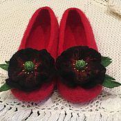 Обувь ручной работы. Ярмарка Мастеров - ручная работа Тапочки Черные маки. Handmade.