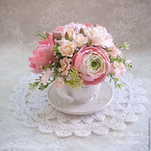 Цветы ручной работы. Ярмарка Мастеров - ручная работа. Купить Цветочная композиция в чашечке №8. Handmade. Коралловый, розы