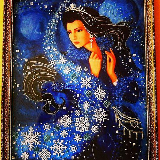 Люди, ручной работы. Ярмарка Мастеров - ручная работа. Купить Картина вышитая бисером Зимняя ночь. Handmade. Зима