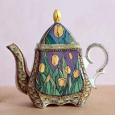"""Посуда ручной работы. Ярмарка Мастеров - ручная работа Чайник заварочный фарфоровый """"Тюльпаны"""". Handmade."""
