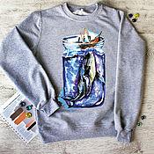 """Одежда ручной работы. Ярмарка Мастеров - ручная работа Свитшот женский с авторским принтом  """"Кит"""". Handmade."""