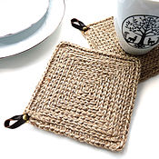 Для дома и интерьера handmade. Livemaster - original item Stand for mugs made of jute knitted in rustic style on the basis of. Handmade.