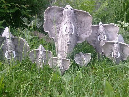 Статуэтки ручной работы. Ярмарка Мастеров - ручная работа. Купить Семь слоников .. Handmade. Серый, керамика-любава